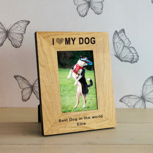 I Love (Heart) My Dog Personalised Engraved Photo Frame Gift