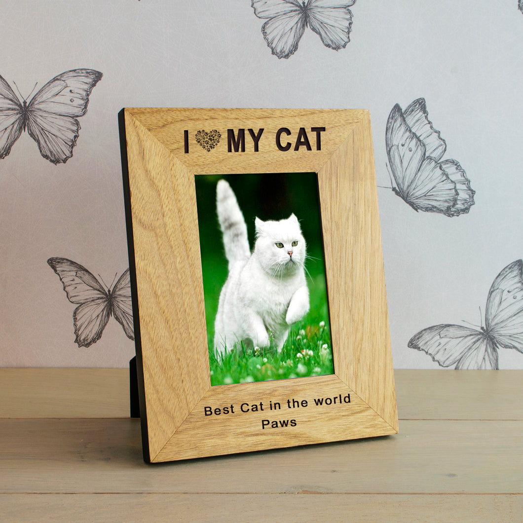 I Love (Heart) My Cat Personalised Engraved Photo Frame Gift