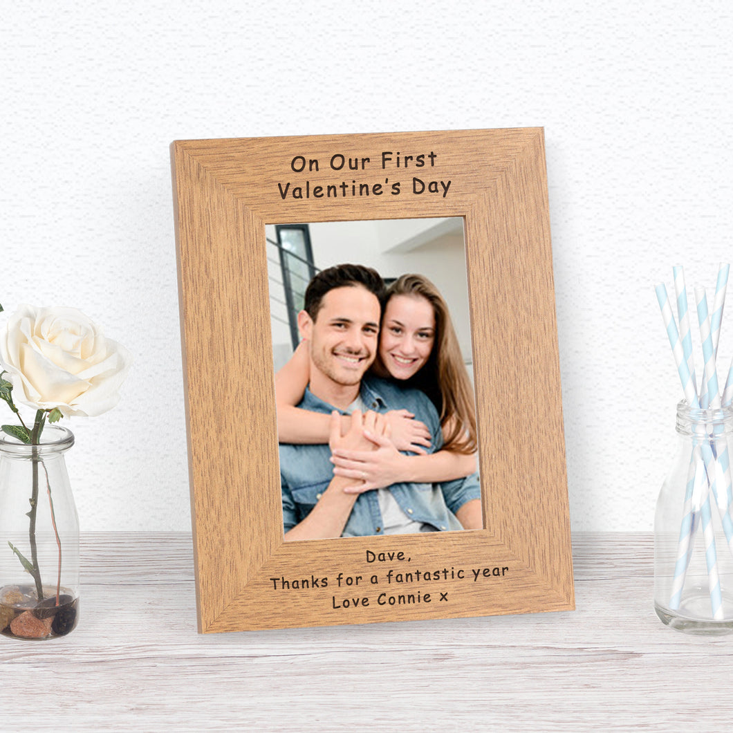 On Our First Valentines Day Personalised Engraved Portrait Photo Frame Gift