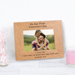 On Our First Valentines Day Personalised Engraved Landscape Photo Frame Gift