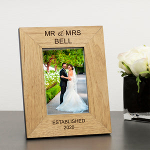 Mr & Mrs Personalised Engraved Wedding Photo Frame