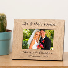 Mr & Mrs Personalised Engraved Wedding Photo Frame Wedding Gift