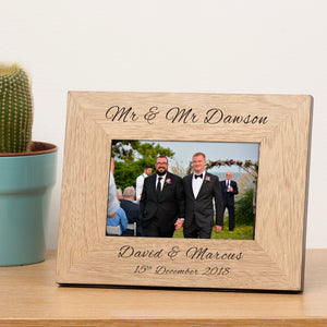 Mr & Mr Personalised Engraved Wedding Photo Frame Wedding Gift