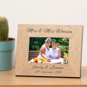 Mrs & Mrs Personalised Engraved Wedding Photo Frame Wedding Gift