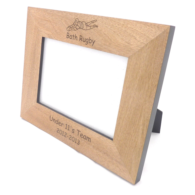 Personalised Rugby Wooden Photo Frame | Ideal For Rugby Team or Player Photos