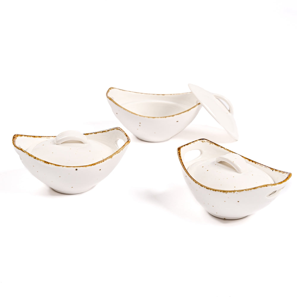 Amalfi - Concave (Set of 3 pieces white color)