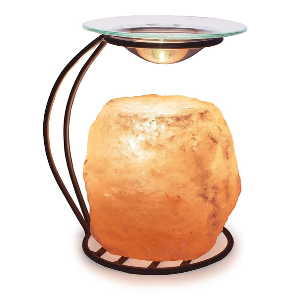 Glow Himalayan Natural Salt Candle Holder with Stand & Oil Tray