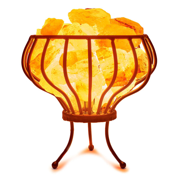 Glow Himalayan Iron Vase Basket with Legs Salt Lamp