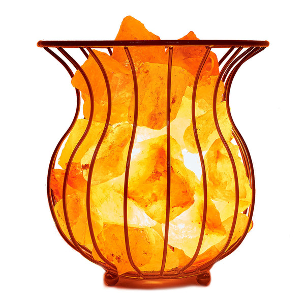 Glow Himalayan Iron Vase Basket 2 Salt Lamp
