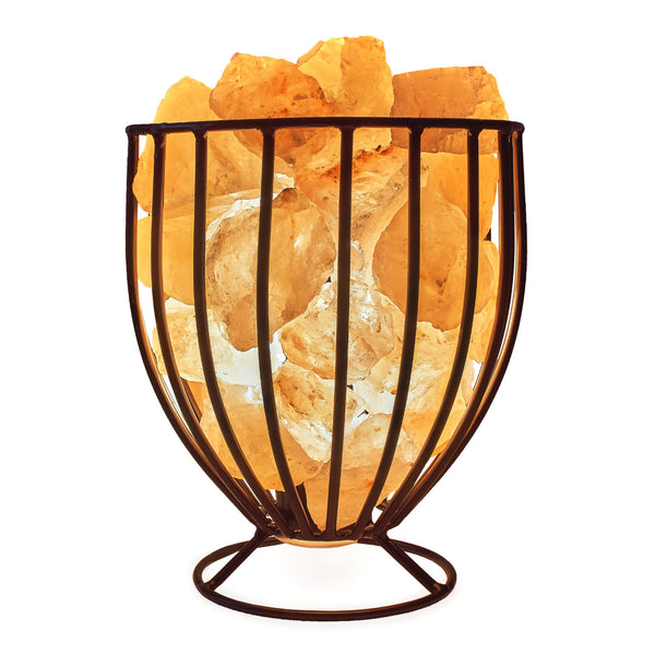 Glow Himalayan Iron Vase Basket 3 Salt Lamp