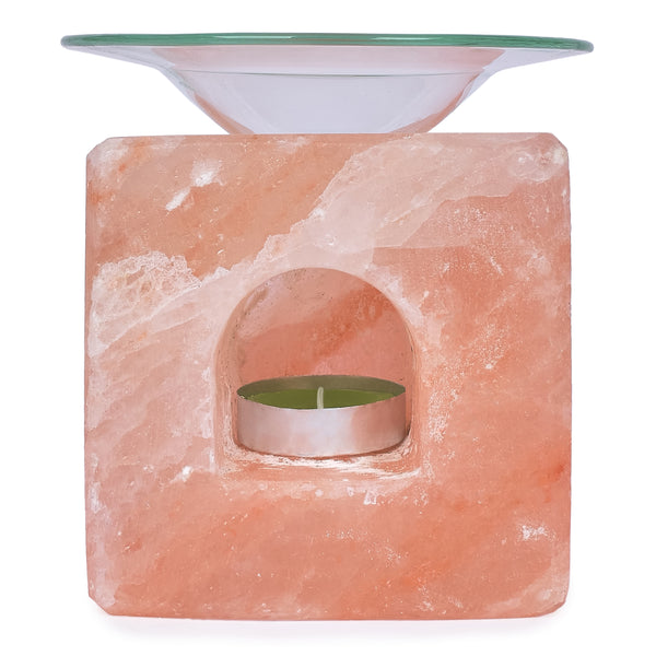 Glow Himalayan Cube Salt Candle Holder with Oil Tray