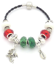 Welsh Rugby Colours Charm Bracelet