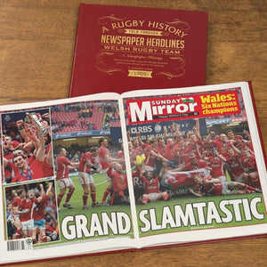 Personalised History Of Welsh Rugby Newspaper Book