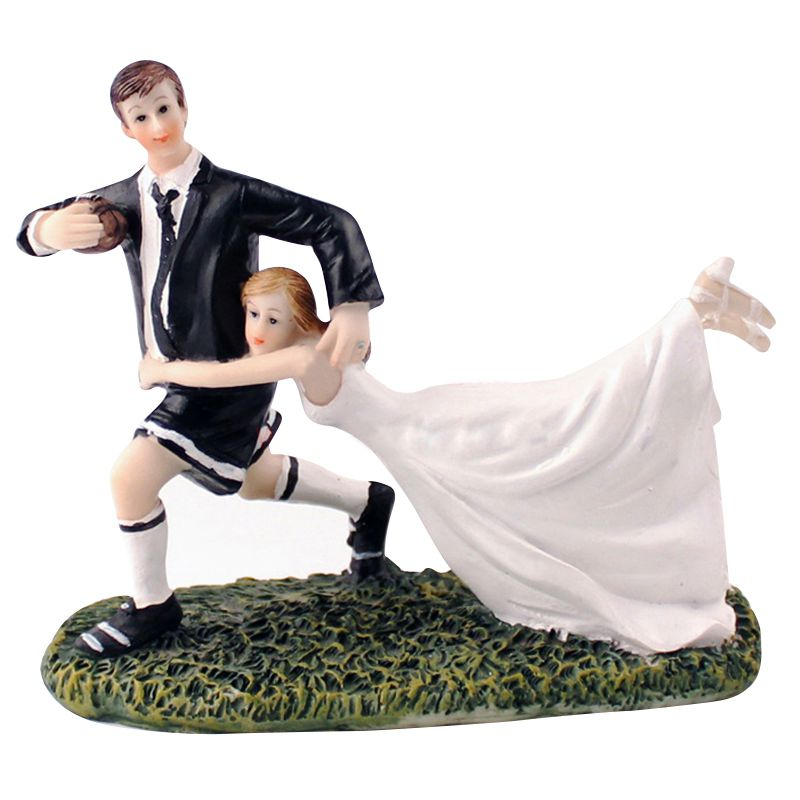 Bride and Groom Rugby Cake Decoration