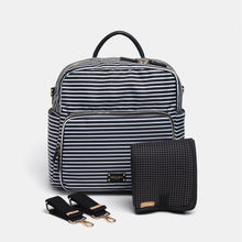 Load image into Gallery viewer, A-La-Playdate Black And White Stripes Diaper Bag Backpack By CHIC-A-BOO