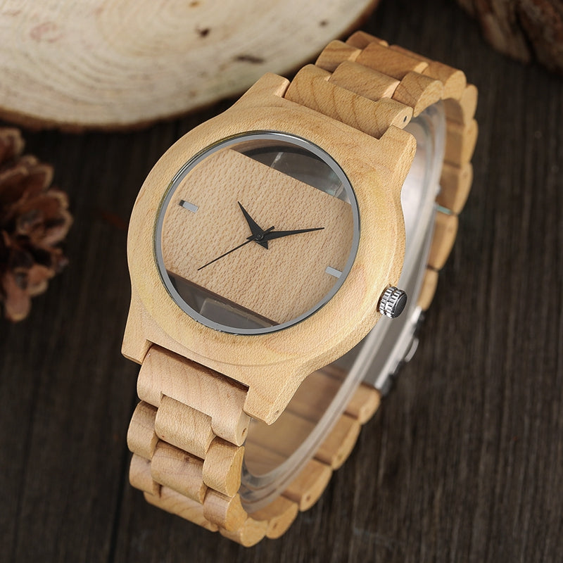 bamboo men nature band watch modern novel handmade watches clock quartz wood fashion leather genuine creative
