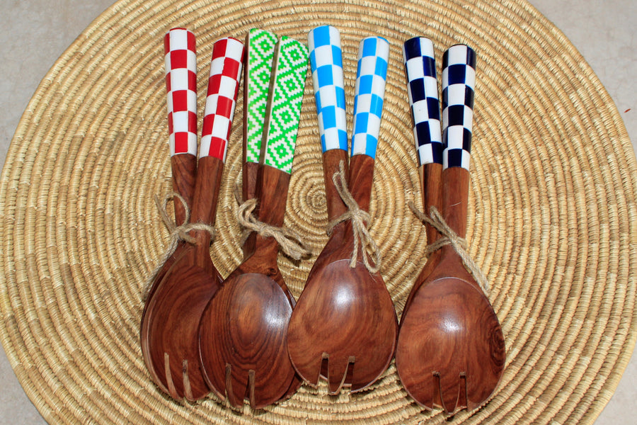 Navy and White chequered Salad servers