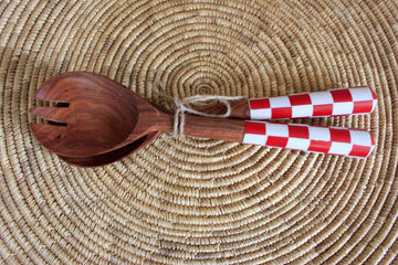 Red and White chequered Salad servers - SOLD OUT
