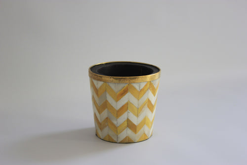 Yellow and white pencil/makeup brush pot