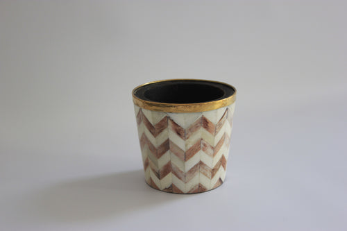 Brown and white pencil/makeup brush pot