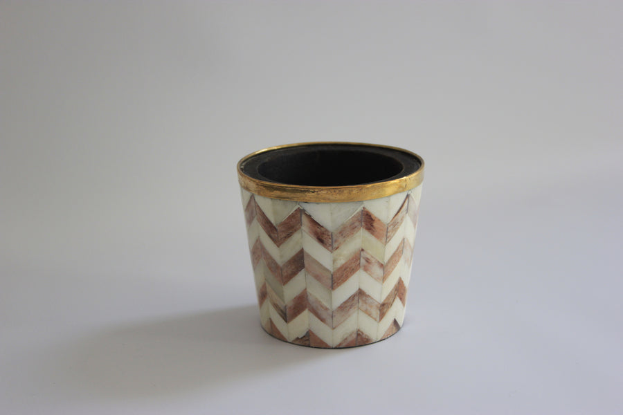 Brown and white brush pot