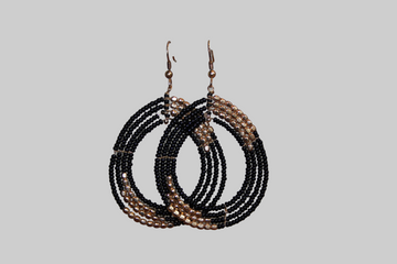 NEW - Black and Gold Beaded Drop Earrings