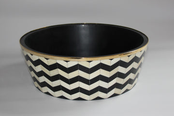 Black and White Bone Inlay Large Planter