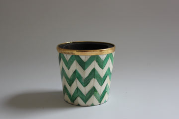 Green and white brush pot