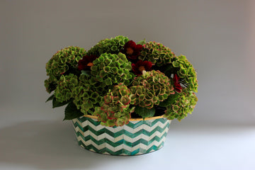 Green and White Large Planter