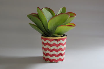 Red and White Bone Inlay Medium Planter