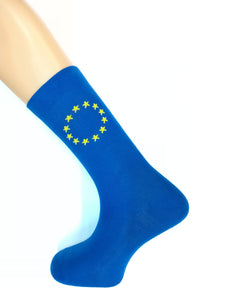 EUROPEAN FLAG Supersoft Cotton Socks - Blue/Yellow Stars - Unisex