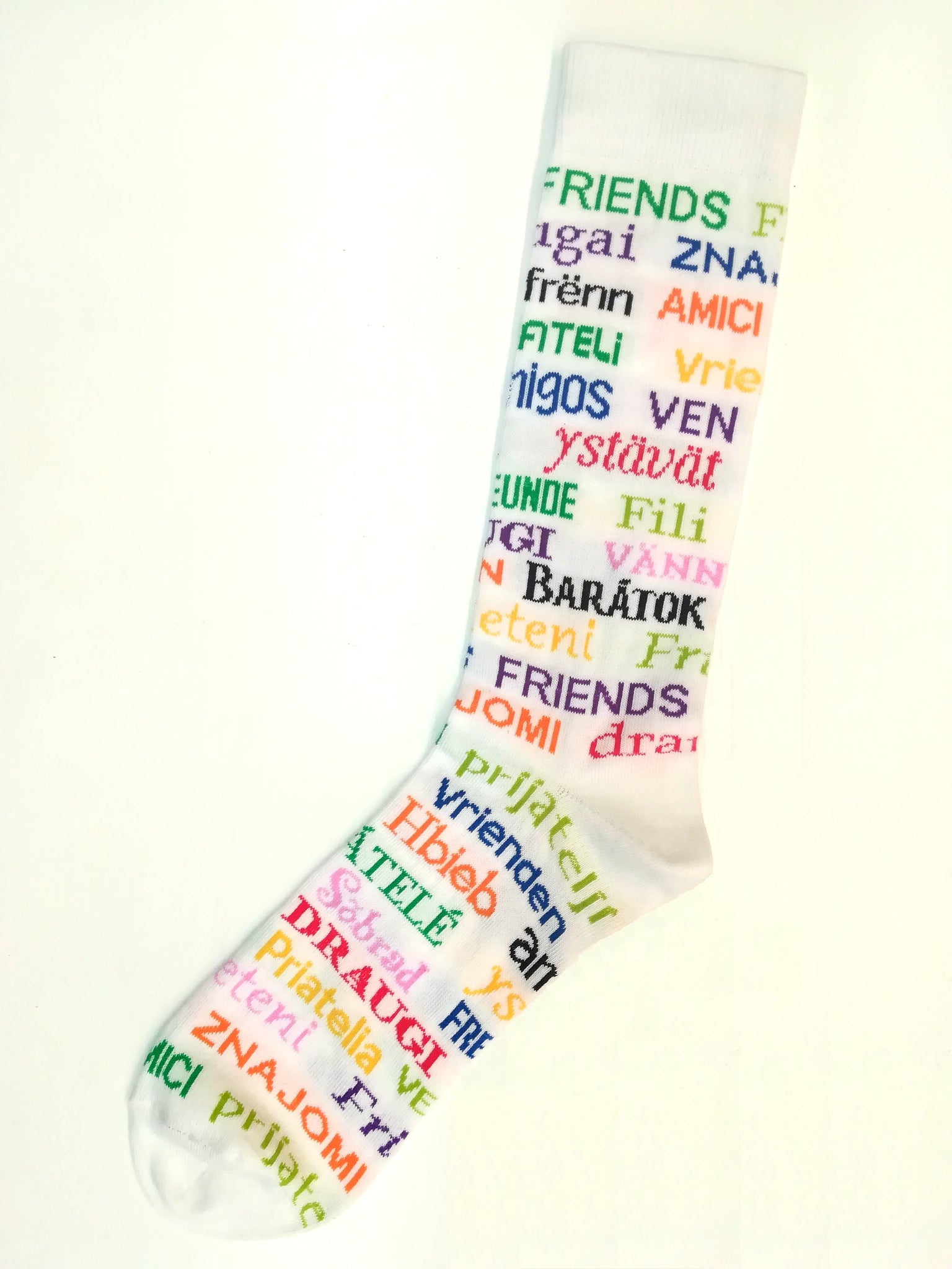 Say 'FRIENDS' translate to EU languages Socks - SuperSoft Cotton Unisex White +Multi colours
