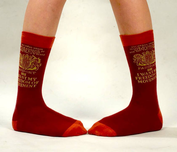 UK/EU PASSPORT Freedom of Movement Supersoft Cotton Socks - Unisex