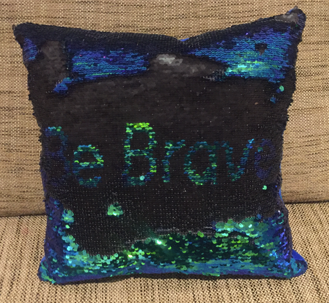 Sequin Mermaid Must Have Pillow With Words BE BRAVE