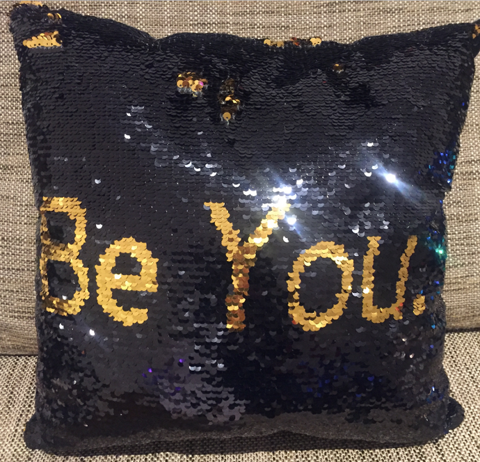 Sequin Mermaid Must Have Pillow With Words BE YOU