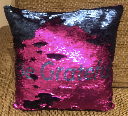Sequin Mermaid Must Have Pillow With Words BE GRATEFUL