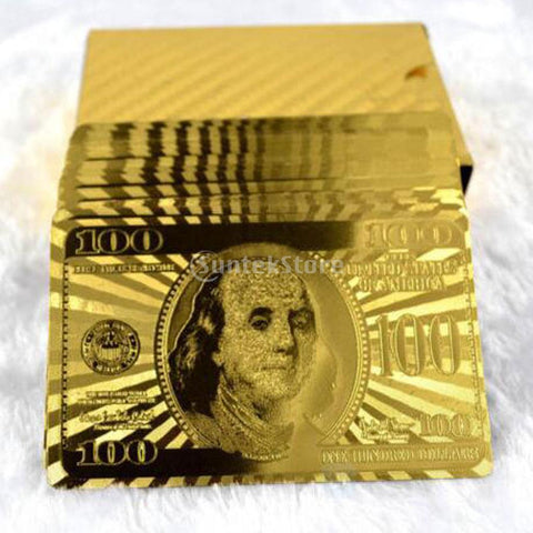 24 Karat Gold Plated Playing Cards Dollar Banknote Design Poker Game Present