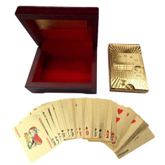 24k Gold Plated Full Poker Deck Pure + Wooden Box Christmas Gift