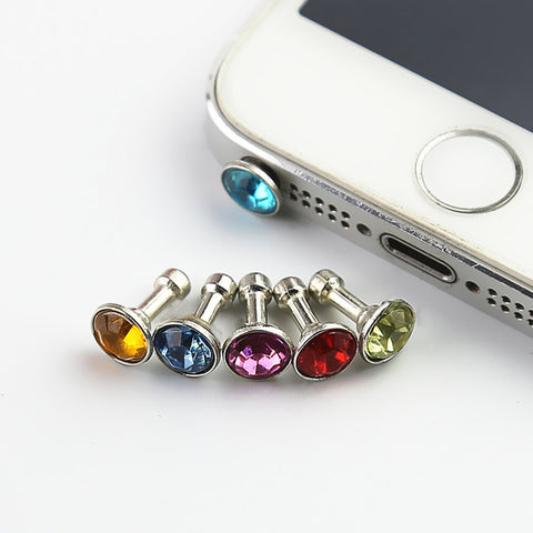 5 piece Universal 3.5mm Diamond Dust Plug Mobile Phone Accessories