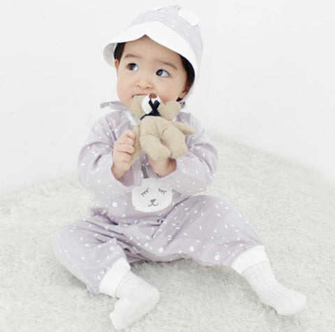 Sleeping Mouse Romper with Bonnet