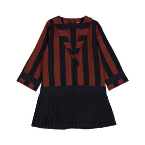Navy Pleated Sailor Stripe Dress