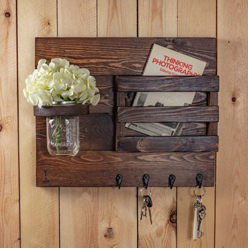 Decoration Items - Key Hanger With Mason Jar And Storage