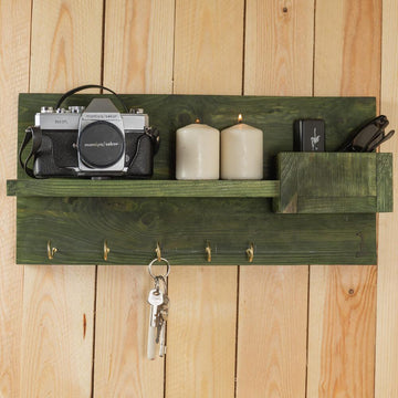 Decoration Items - Key Hanger With Shelf Green