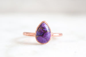 Purple Turquoise Teardrop Ring