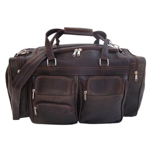 "Piel - 20"" Genuine Leather Duffel Bag with Pockets"