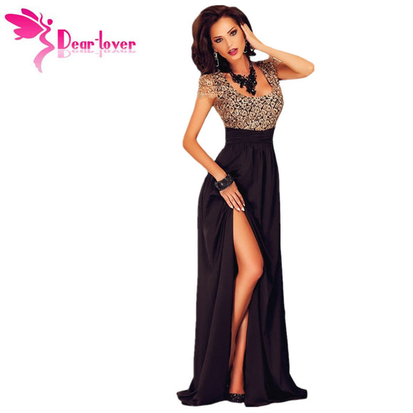 DearLover Gold Lace Overlay Slit Women Gown