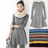 Cotton O-Neck Long Sleeve Women Dress