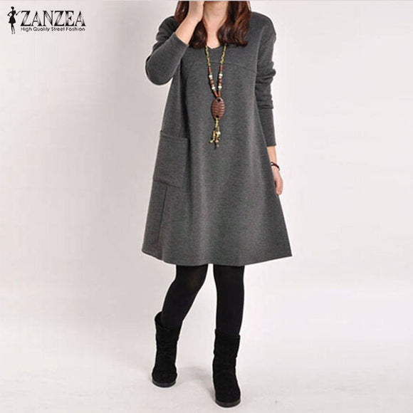 ZANZEA Pocket O-Neck Women Dress