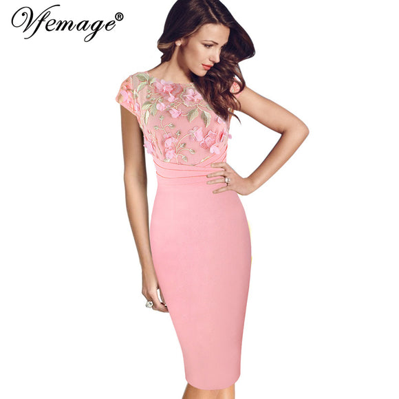 VFemage  Applique Floral Embroidery Women Dress