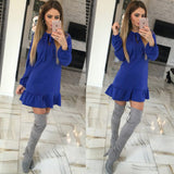 Ruffles Bow Sexy Party Women Mini Dress
